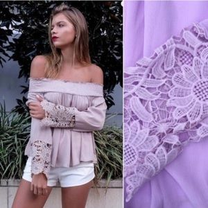 Tops - ~5xHP~ Aurura Off The Shoulder Chiffon Crochet Top